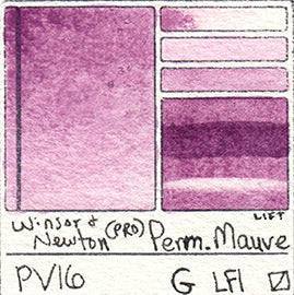 PV16 Winsor and Newton Watercolor Professional Permanent Mauve Swatch Card Color Chart