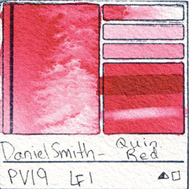 PV19 Daniel Smith Watercolor Quinacridone Red Pigment Swatch Database Card