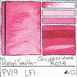 PV19 Daniel Smith Watercolor Quinacridone Rose Pigment Swatch Database Card