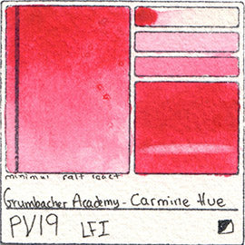 PV19 Grumbacher Academy Carmine Hue Watercolor Swatch Card