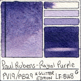 PV19 PB29 Paul Rubens Hint of Glitter Pan Set Watercolor Royal Purple Swatch Card Color Chart