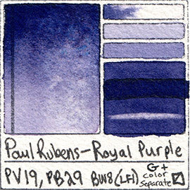 PV19 PB29 Paul Rubens Standard Pan set Royal Purple art swatch card color pigment database stain test masstone diluted