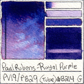 PV19 PB29 Paul Rubens Tube Watercolor Royal Purple Swatch Card Color Chart