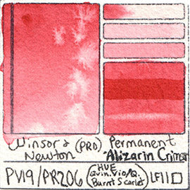 PV19 PR206 Winsor and Newton Professional Watercolor Permanent Alizarin Crimson Color Chart Swatch Card