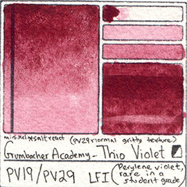 PV19 PV29 Grumbacher Academy Thio Violet Watercolor Swatch Card