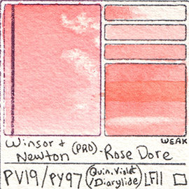 PV19 PY97 Winsor and Newton Professional Watercolor Rose Dore Color Chart Swatch Card