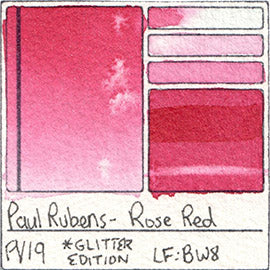 PV19 Paul Rubens Hint of Glitter Pan Set Watercolor Rose Red Swatch Card Color Chart