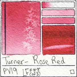PV19 Turner Watercolor Rose Red Color Pigment Database Swatch Card