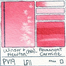 pv19 winsor newton watercolor professional permanent carmine lightfast staining red pink color