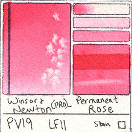 PV19 Winsor and Newton Professional Watercolor Permanent Rose Color Chart Swatch Card