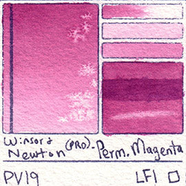 PV19 Winsor and Newton Watercolor Professional Permanent Magenta Swatch Card Color Chart