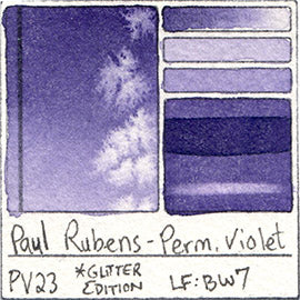 PV23 Paul Rubens Hint of Glitter Pan Set Watercolor Permanent Violet Swatch Card Color Chart