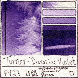 PV23 Turner Watercolor Dioxazine Violet Staining Pigment Database Swatch Card