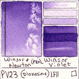 PV23 Winsor and Newton Watercolor Professional Dioxazine Violet Swatch Card Color Chart