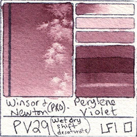 PV29 Winsor and Newton Professional Perylene Violet Watercolor Swatch Card Color Chart