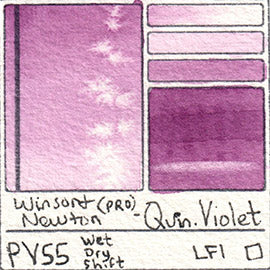 PV55 Winsor and Newton Watercolor Professional Quinacridone Violet Swatch Card Color Chart