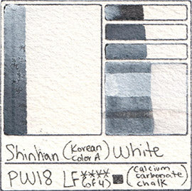 PW18 Shinhan Korean Color A White Watercolor Swatch Card Color Chart
