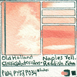 PW4 PY53 PO34 Old Holland Classic Watercolors Naples Yellow Reddish Extra pigment swatch rare mineral paint art professional