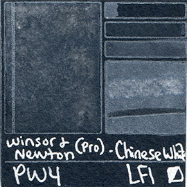 PW4 Winsor and Newton Professional Chinese White Watercolor Swatch Card Color Chart