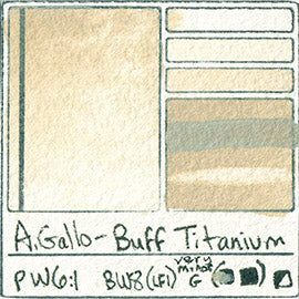 PW6-1 A Gallo Buff Titanium natural plant water color pigment database swatch test card light fast