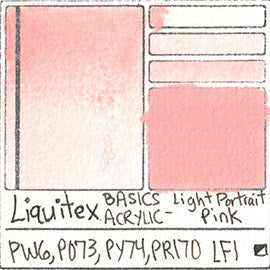 PW6 PO73 PY74 PR170 Liquitex Basics Acrylic Light Portrait Pink color separating granulating pigment shimmer metallic