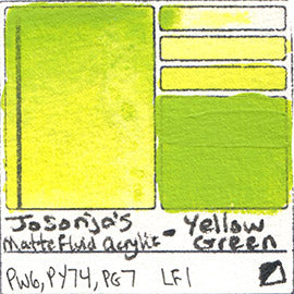 PW6 PY74 PG7 Jo Sonja's Matte Fluid Acrylic Yellow Green chroma opaque flow vibrant pigment swatch card database
