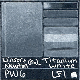 PW6 Winsor and Newton Professional Titanium White Watercolor Swatch Card Color Chart