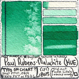 PY101 PB19 Paul Rubens Standard Pan set Malachite Hue art swatch card color pigment database stain test masstone diluted
