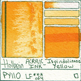 PY110 Holbein ACRYLIC INK Isoindolinone Yellow pigment swatch card color colour database