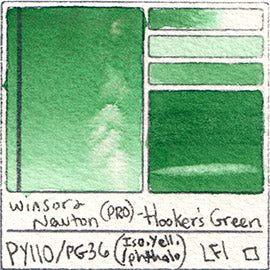 PY110 PG36 Winsor and Newton Professional Hooker's Green Watercolor Swatch Card Color Chart