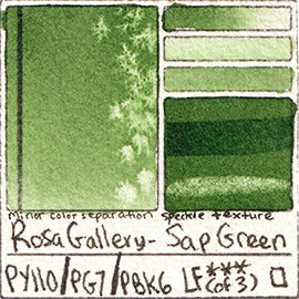PY110 PG7 PBk6 Rosa Gallery Sap Green Watercolor Paint Pigment Database Handprint Color Chart