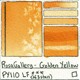 PY110 Rosa Gallery Watercolor Golden Yellow Handprint Art Pigment Swatch Color Chart