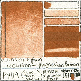 PY119 Winsor & Newton Pro Color Watercolor Magnesium Brown Pigment Database Color Chart
