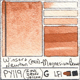 PY119 Winsor and Newton Professional Magnesium Brown Watercolor Swatch Card Color Chart
