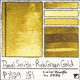 PY129 Daniel Smith Watercolor Rich Green Gold Color Pigment Granulating Swatch Database Card