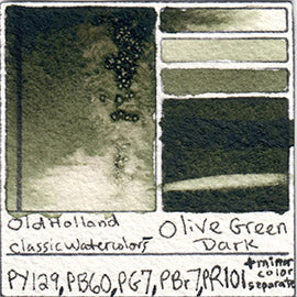 PY129 PB60 PG7 PBr7 PR101 Old Holland Classic Watercolor Olive Green Dark pigment swatch database card color separation swatch