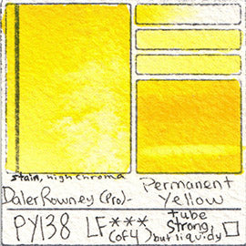 PY138 Daler Rowney Professional Watercolor Permanent Yellow Pigment Database Color Chart