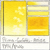 PY14 PW6 Prima Art Philosophy Confetti Anise Watercolor Swatch Card Color Chart