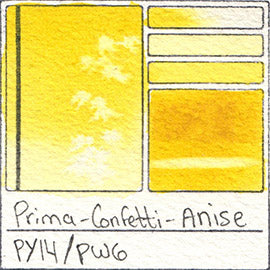PY14 PW6 Prima Art Philosophy Confetti Anise Watercolor Swatch Card