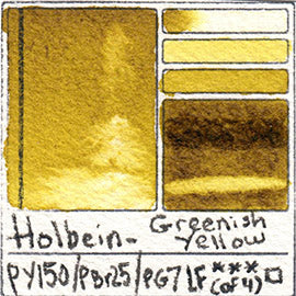PY150 PBr25 PG7 Holbein Watercolor Greenish Yellow Art Pigment Database