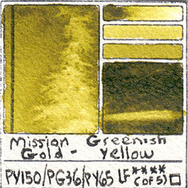 PY150 PG36 PY65 Mission Gold Watercolor Greenish Yellow Art Pigment Database