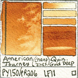 PY150 PR206 American Journey Cheap Joe's Watercolor Quinacridone Gold Deep Art Pigment Database