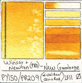 PY150 PR209 Pigment Winsor and Newton Professional Watercolor New Gamboge Color Database