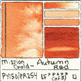 PY150 PR254 Mission Gold Watercolor Autumn Red Art Pigment Database