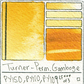 PY150 PY110 PY109 Turner Watercolor Permanent Gamboge Color Art Pigment Database Swatch Card