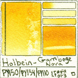 PY150 PY154 PY110 Holbein Watercolor Gamboge Nova Art Pigment Database