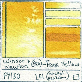 winsor and newton professional watercolor py150 transparent yellow nickel azo swatch