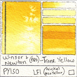 PY150 Winsor and Newton Professional Watercolor Transparent Yellow Swatch Card