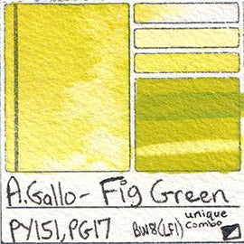PY151 PG17 A Gallo Fig Green water color pigment database swatch test card light fast