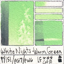 PY151 PG7 PW6 WHITE NIGHTS WATERCOLOR WARM GREEN PASTEL SWATCH CARD COLOR CHART